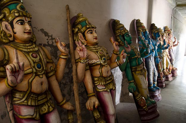 Colorful statues used during Utsavams